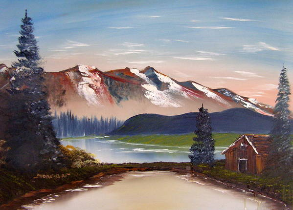 Landscape Art Print featuring the painting Lonely Cabin In The Mountains by Sheldon Morgan