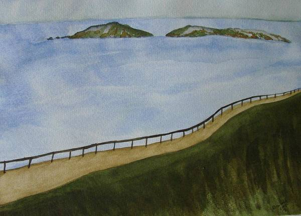 Landscape Art Print featuring the painting Look To The Islands by Liz Vernand