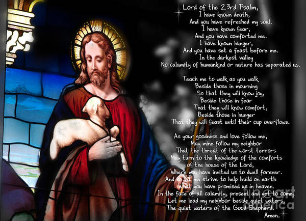 Jesus Art Print featuring the digital art Lord Of The 23rd Psalm by Belinda Rose