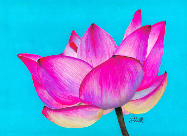 Lotus Print featuring the painting Lotus by Laura Bell