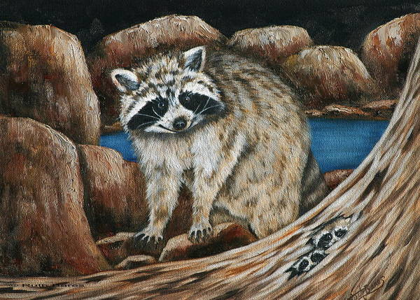 Racoon Art Print featuring the painting Mama Racoon by Ruth Bares