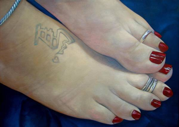 Toes Art Print featuring the painting Mandys Toes by Jerrold Carton