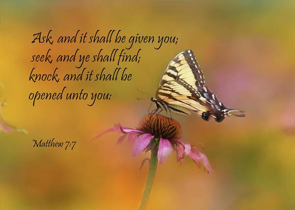 Tiger Swallowtail Art Print featuring the photograph Matthew 7 7 by Ann Bridges
