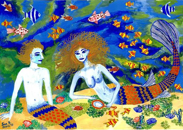 Sue Burgess Art Print featuring the painting Mer Quarrel by Sushila Burgess