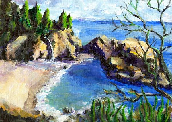 Waterfall Art Print featuring the painting Mikes Beach by Randy Sprout