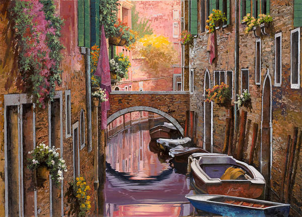 Venice Art Print featuring the painting Mimosa Sui Canali by Guido Borelli
