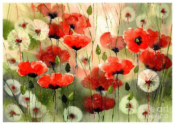 Red Art Print featuring the painting Moody Poppies In The Afternoon by Suzann Sines