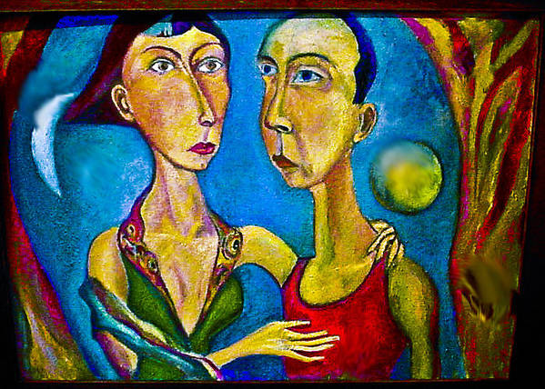 Human Composition Art Print featuring the painting Moon Couple by Noredin Morgan