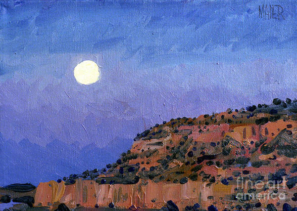 Moonrise Art Print featuring the painting Moonrise Over Gallup by Donald Maier