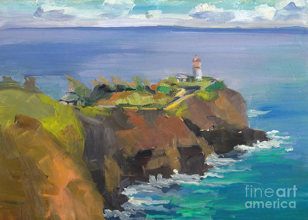 Art Print featuring the painting Morning Lighthouse by Cynthia Riedel
