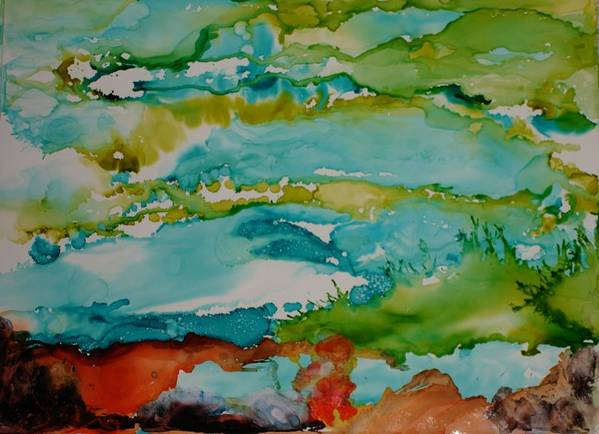 Wave Art Print featuring the mixed media Mother Ocean by Susan Kubes