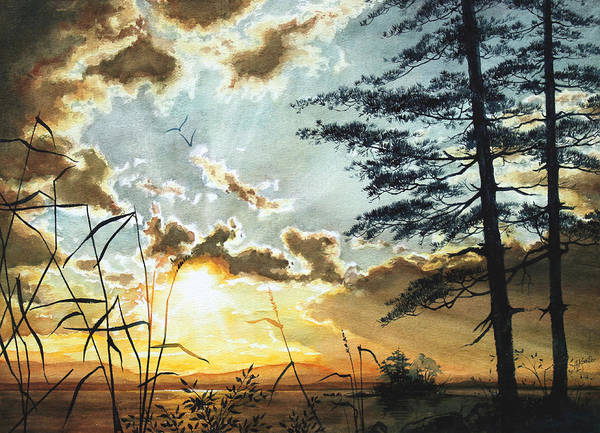 Lake Art Print featuring the painting Muskoka Dawn by Hanne Lore Koehler