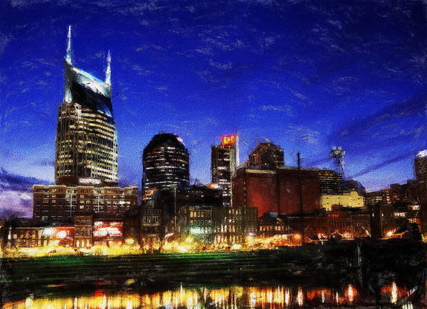 Landscape Art Print featuring the painting Nashville At Twilight by Dean Wittle