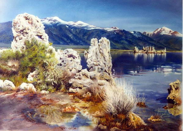Lake Art Print featuring the painting Nature's Ghosts by Marion Hylton