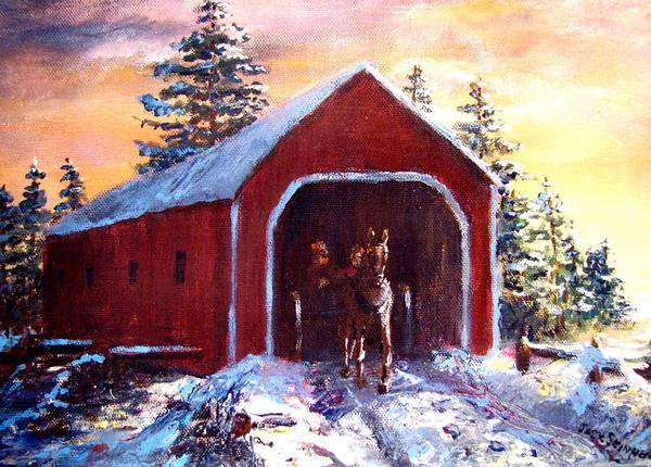 Winter Scene Art Print featuring the painting New England Winter Crossing by Jack Skinner