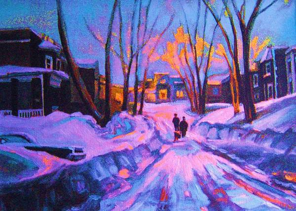 Winterscene Art Print featuring the painting No Sidewalks by Carole Spandau