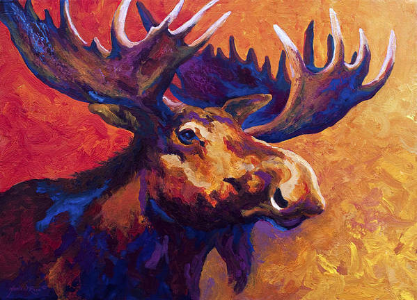 Moose Art Print featuring the painting Noble Pause by Marion Rose