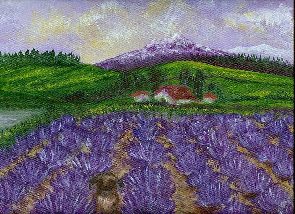 Sunrise Art Print featuring the painting Nui In Lavender Field by Laura Johnson