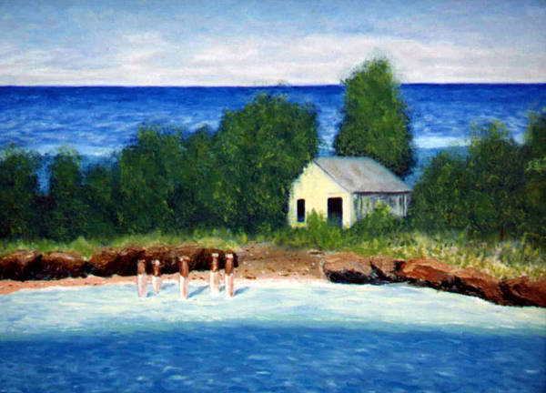 Seascape Art Print featuring the painting Ocean Shack by Stan Hamilton