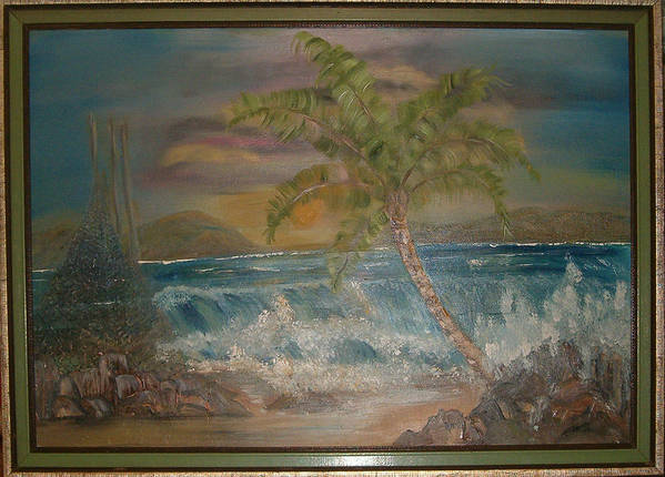 Seascape Art Print featuring the painting Ocean Storm by Mikki Alhart