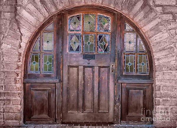 Southwest Art Print featuring the photograph Old Arched Doorway-tucson by Sandra Bronstein