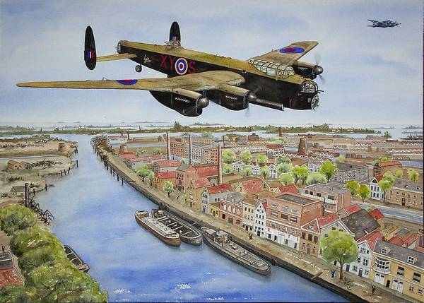 Lancaster Bomber Art Print featuring the painting Operation Manna II by Gale Cochran-Smith