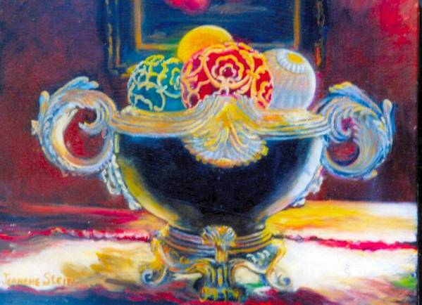 Black Ornate Bowl Art Print featuring the painting Ornate Black Bowl by Jeanene Stein