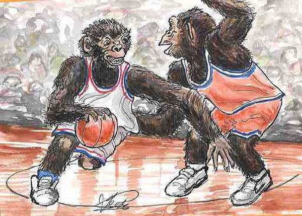Basketball Art Print featuring the painting Out Of My Way by George I Perez
