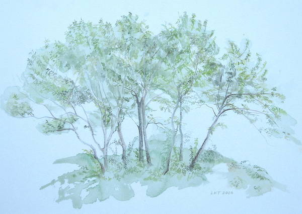 Trees Art Print featuring the painting Outer Banks by Leah Tomaino