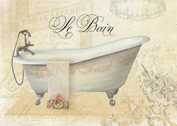 Clawfoot Tub Art Print Featuring The Painting Parchment Paris