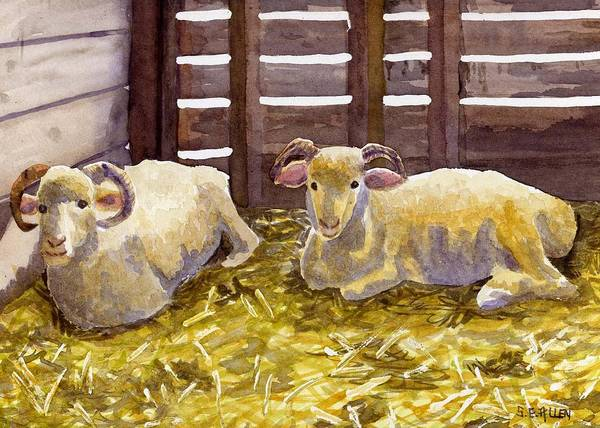 Sheep Art Print featuring the painting Pen Pals by Sharon E Allen