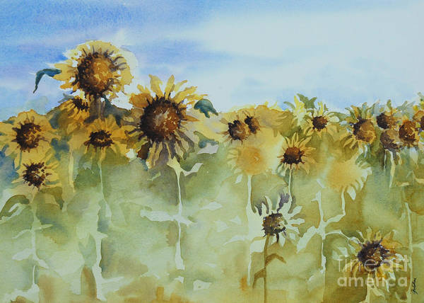 Sunflowers Print featuring the painting Pick Me by Gretchen Bjornson