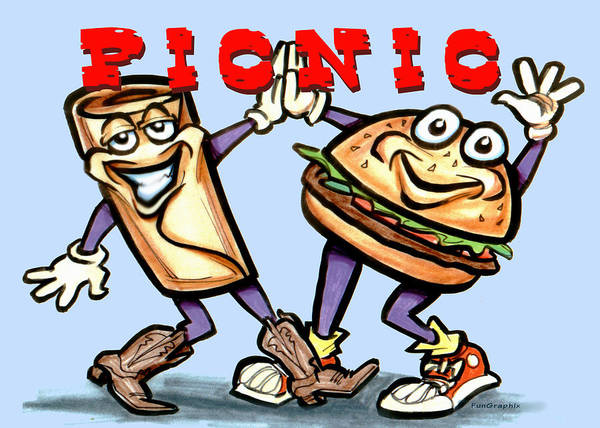 Picnic Art Print featuring the greeting card Picnic by Kevin Middleton