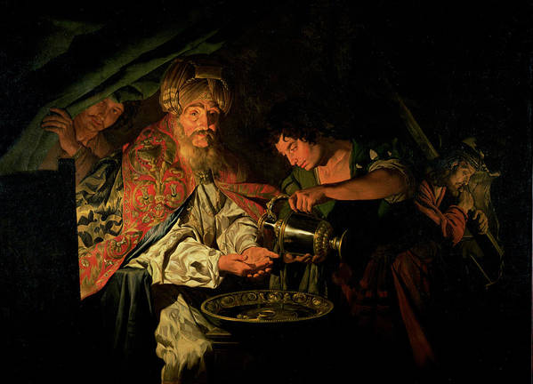 Pilate Washing His Hands Art Print featuring the painting Pilate Washing His Hands by Stomer Matthias