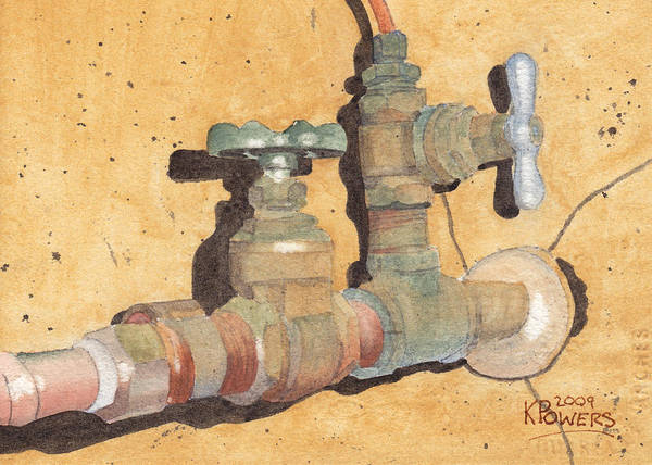 Plumbing Art Print featuring the painting Plumbing by Ken Powers