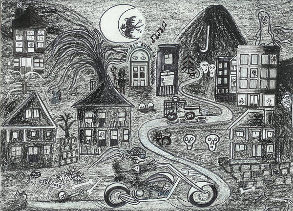 Art Print featuring the drawing Police On Halloween Night Jerome Az. by Ingrid Szabo