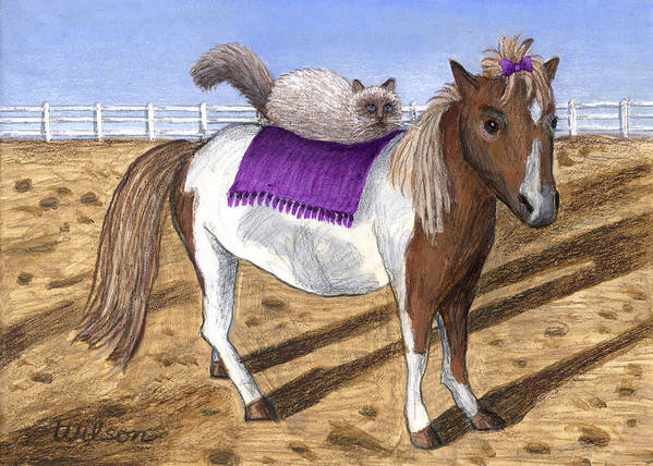 Horse Art Print featuring the painting Pony Lil And Cat Annie by Carol Wilson