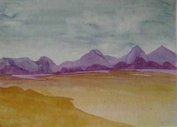 Purple Mounatians Art Print featuring the painting Purple Mountains 2 by Dottie Briggs