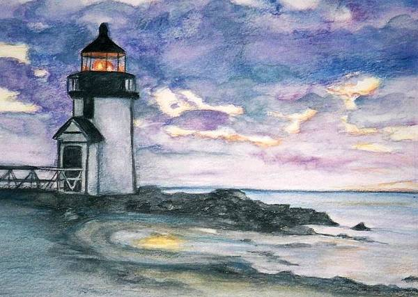 Nantucket Art Print featuring the painting Purple Skies Over Nantucket by Debra Sandstrom