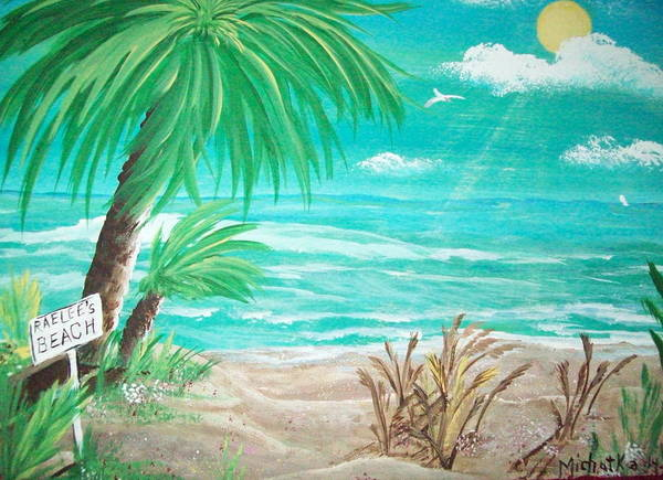 Folk Art Print featuring the painting Raelee's Beach by Susan Michutka