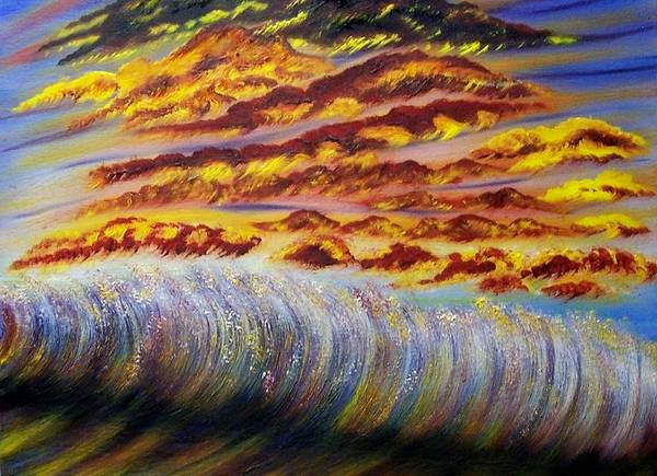 Sky Art Print featuring the painting Rainbow Waves by Marie Lamoureaux