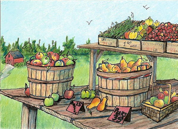 Landscape Art Print featuring the drawing Roadside Stand by Patricia R Moore
