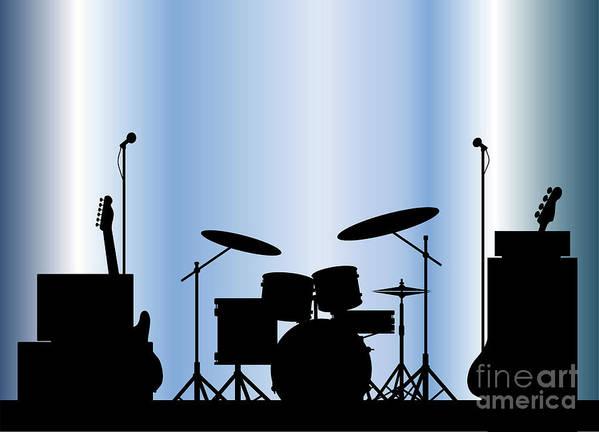 Rock Bandm Guitar Art Print featuring the digital art Rock Band Equipment by Bigalbaloo Stock