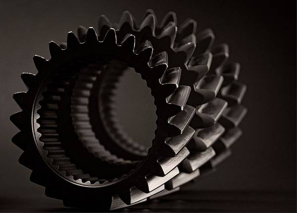 Gears Art Print featuring the photograph Rollin' Gears Black And White by Chris Fleming