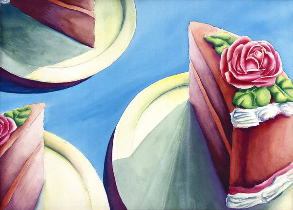 Rose Cake Art Print featuring the painting Rose Cake by Jennifer McDuffie