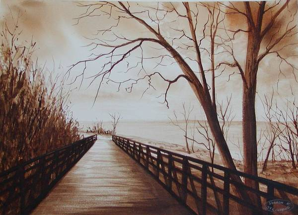 Sepia Watercolour Of Bridge At Waterfront Art Print featuring the painting Rotary Bridge by Sharon Steinhaus