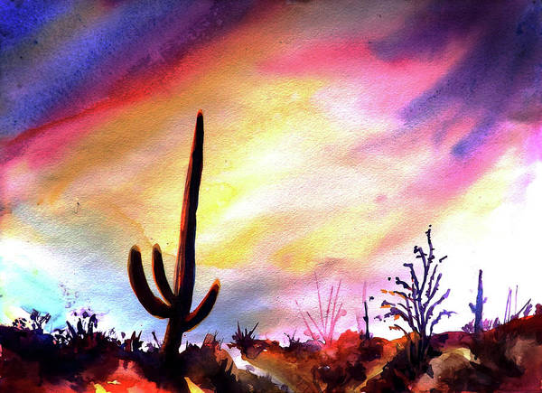 Saguaro Art Print featuring the painting Saguaro National Monument by Victoria Wills