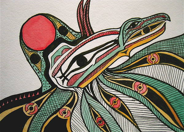 Orignial Artwork Art Print featuring the painting Salishan Style Raven by K Hoover