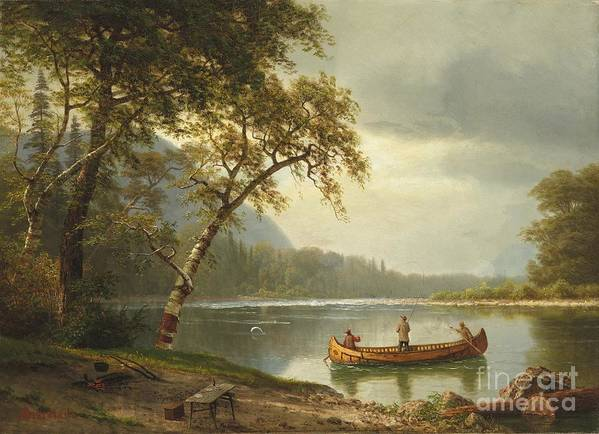 Landscape; Rural; Countryside; Canadian; Fishermen; Boat; Leisure; Calm; Peaceful; Kayak; Camp; Campfire; Fire; Kettle; Scenic; Riverbank Art Print featuring the painting Salmon Fishing On The Caspapediac River by Albert Bierstadt