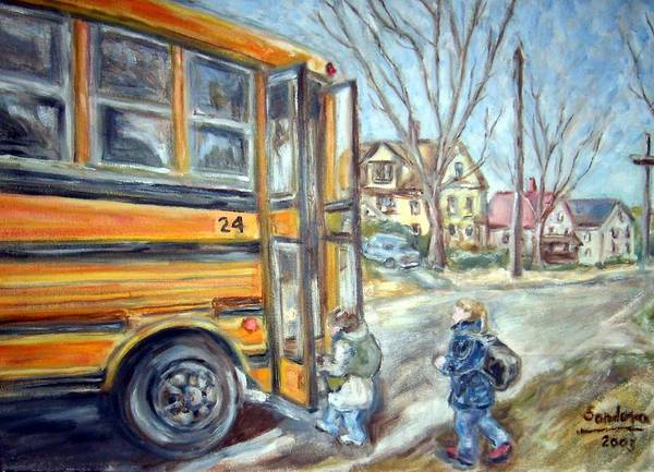 Landscape With Children Houses Street School Bus Art Print featuring the painting School Bus by Joseph Sandora Jr